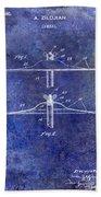 1940 Cymbal Patent Blue Bath Towel