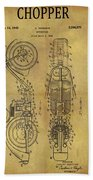 1942 Chopper Motorcycle Patent Bath Towel
