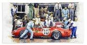 1961 Le Mans 1961 Ferrari 250 Tri Olivier Gendebien Phil Hill Winner  Bath Towel