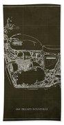 1969 Triumph Bonneville Blueprint Brown Background Bath Towel