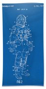 1973 Astronaut Space Suit Patent Artwork - Blueprint Bath Towel