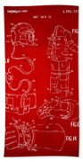 1973 Space Suit Elements Patent Artwork - Red Bath Towel