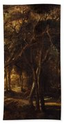 A Forest At Dawn With A Deer Hunt Bath Towel