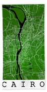 Cairo Street Map - Cairo Egypt Road Map Art On Colored Backgroun Bath Towel