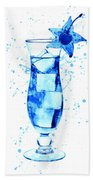 Cocktail Drinks Glass Watercolor Bath Towel
