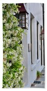 Colonial Home Exterior With Vertical Plants And Old Lanterns Displayed On The Side Of Home Bath Towel