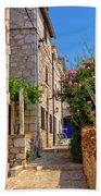Colorful Mediterranean Stone Street Of Prvic Island Bath Towel