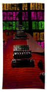 Colorful Music Rock N Roll Guitar Retro Distressed  Hand Towel
