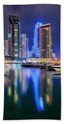Colorful Night Dubai Marina Skyline, Dubai, United Arab Emirates Hand Towel