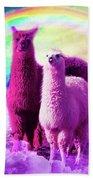 Crazy Funny Rainbow Llama In Space Bath Towel