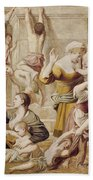 Detail Of Saint Cecilia Distributing Alms Bath Towel
