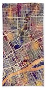 Detroit Michigan City Map Bath Towel