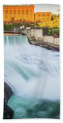 Falls And The Washington Water Power Building Along The Spokane  Bath Towel
