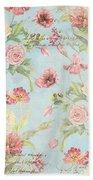 Fleurs De Pivoine - Watercolor In A French Vintage Wallpaper Style Bath Towel