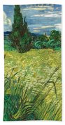 Green Wheat Field With Cypress Bath Towel
