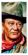 John Wayne, Hollywood Legend By John Springfield Bath Towel