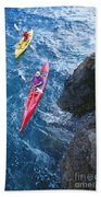 Kayaking Along Coastline Bath Towel