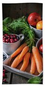Mix Of Fruits, Vegetables And Berries Bath Towel
