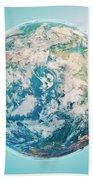 North Pole 3d Render Planet Earth Clouds Bath Towel