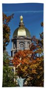 Notre Dame's Golden Dome Bath Towel