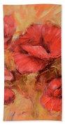 Poppy Flowers Handmade Oil Painting On Canvas Bath Towel