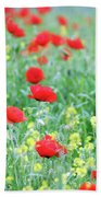 Poppy Flowers Meadow Spring Season Bath Towel