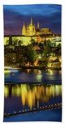 Prague Skyline At Sunset Hand Towel