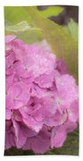 Purple Hydrangea At Rainy Garden In June, Japan Bath Towel