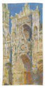 Rouen Cathedral, West Facade, Sunlight Bath Towel