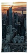 San Francisco City Skyline At Sunset Aerial Hand Towel