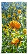 Spring Flowers In The Rain Bath Towel