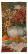 Still Life With Flowers And Prickly Pears Bath Towel