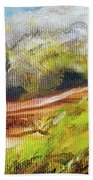 Structure Of Wooden Log Covered With Moss On The Riverside, Closeup Painting Detail. Bath Towel