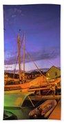 Tall Ships And Yahts Moored In Newport Harbor Bath Towel