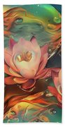 Teal And Peach Waterlilies Hand Towel