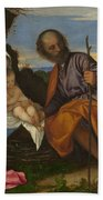 The Holy Family With A Shepherd Bath Towel