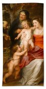 The Holy Family With Saints Francis And Anne And The Infant Saint John The Baptist Bath Towel