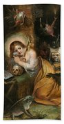 The Penitent Mary Magdalene Visited By The Seven Deadly Sins Bath Towel