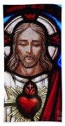 The Sacred Heart Of Jesus Bath Towel