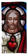 The Sacred Heart Of Jesus Bath Towel