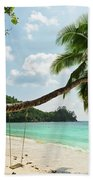 Tropical Beach At Mahe Island Seychelles Bath Towel