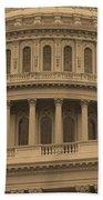 United States Capitol Building Sepia Bath Towel