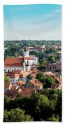 view of downtown in Vilnius city, Lithuanian Bath Towel