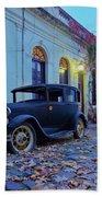 Vintage Cars In Colonia Del Sacramento, Uruguay Bath Towel