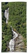 Waterfall In Geiranger Norway Bath Towel