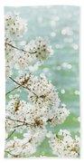 White Cherry Blossoms Trees Bath Towel
