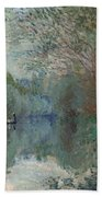 Willows At The Edge Of The Yerres Bath Towel