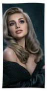 Woman In Big Curls Hollywood Glam Look Bath Towel