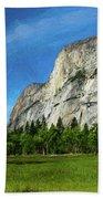 Yosemite Valley Meadow Panorama Bath Towel