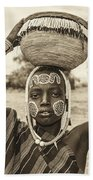 Young Boy From The African Tribe Mursi, Ethiopia Bath Towel